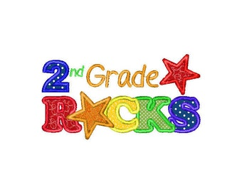 Buy3Get1 FREE - Machine Embroidery 2nd Grade Rocks, Second Grade Rocks - INSTANT DOWNLOAD