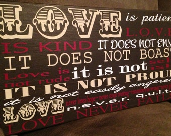 Love is Patient Love is Kind wood sign