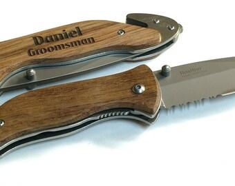 SET OF 3 Engraved Pocket Knife, Personalized Pocket Knife,Serrated Stainless Steel Blade, Best Man Gift, Groomsmen Gift, Birthday Gift,138-3