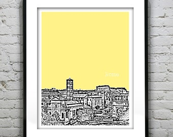 Rome Italy Skyline Poster Art Print Version 1
