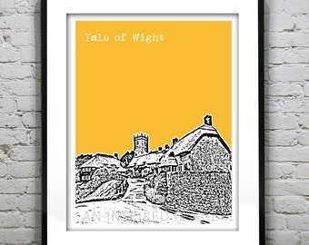 Isle of Wight Poster Art Print Skyline Cottages in Godshill England UK