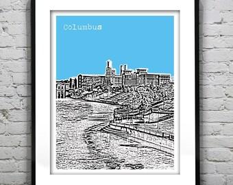 Presidents Day Sale 15% Off - Columbus Georgia Skyline Poster Art Print Muscogee County GA
