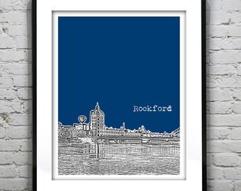Rockford Poster Illinois Skyline Art Print  IL