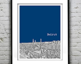Beirut Lebanon Skyline Poster Art  Downtown Mosque
