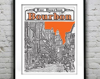 New Orleans French Quarter Poster Art Skyline Bourbon Street Louisiana  Version 1