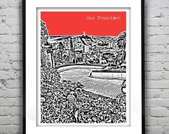 San Francisco Poster Print Skyline Lombard Street California Art CA Version 5