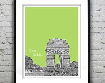 New Delhi India Poster Art Print Skyline India Gate Travel
