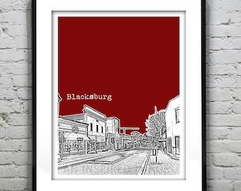 Blacksburg Virginia Skyline Downtown Poster Art Print VT