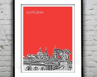 Ljubljana Slovenia Poster Print Art Skyline Europe