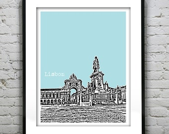 Lisbon Portugal Poster Art Print City Skyline