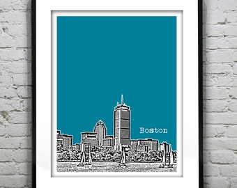 Boston Skyline Poster Art Print Massachusetts MA From the Charles River