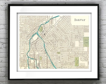 Denver Colorado Poster Art Print Old Vintage Map CO