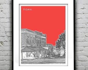 Folsom Poster Art Skyline Print California CA