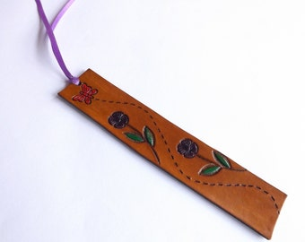 Leather Bookmark - Butterfly and Flowers