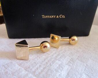 Mid 20th c. Tiffany 14 Karat Yellow Gold Cufflinks