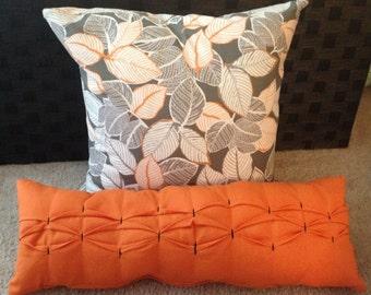 Decorative Pillow, 2 Pillows, Throw Pillow, Grey and Orange Pillow