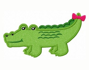 Girl Alligator Applique Machine Embroidery Design NO:0072