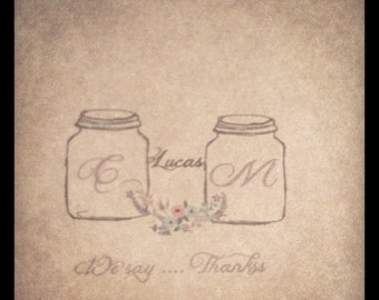 Mason Jar Thank you cards- 50