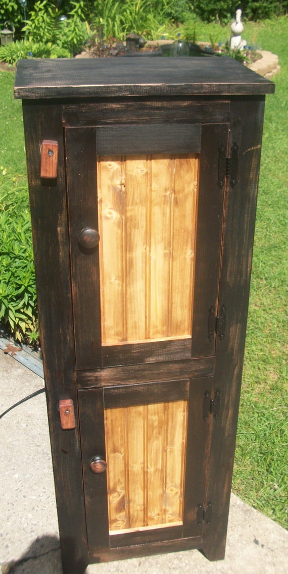 Handmade wooden primitive rustic cabinet by