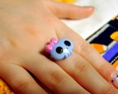Spooky Cute Sparkly Blue Skull Ring