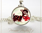 Reindeer Necklace Pendant Image Vintage 1950s Art Jewelry Christmas Holiday 0502SC