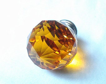 Sparkle Glass Dresser Drawer Knobs Pulls Handles Shiny Yellow Amber / French Country Crystal Cabinet Knobs / Modern Furniture Hardware