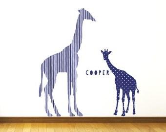 Giraffe Wall Decals - Blue Giraffe Fabric Wall Decals