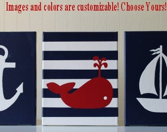 Nautical Nursery Decor Painting Sailboat Anchor Whale Nursery Navy Red White Nautical Wall Art Nautical Painting