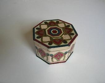 vintage octagonal tin box