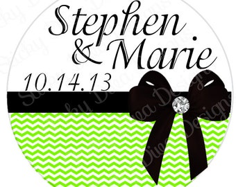 PERSONALIZED STICKERS - Custom Chevron Bow Design Monogrammed Labels - Round Gloss Labels