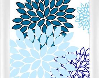 Blue Modern Contemporary Flower Burst Wall Art - 8x10