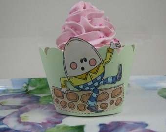Baby shower cupcake wrappers Humpty Dumpty cupcake wrappers nursery rhyme cupcake wrappers, made to order