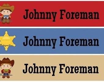Personalized Waterproof Labels Waterproof Stickers Name Label Dishwasher Safe Daycare Label School Label - Cool Cowboys