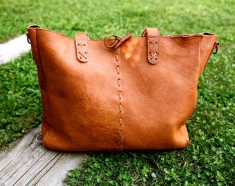 BOHO Leather BAG // Boho leather shoulder bag / Big tote bag with cross-body strap / Deer Leather bag / Boho chic bag / Ethnic leather bag