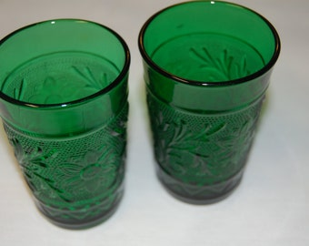 Vintage Sandwich Juice Glasses (2) Green Pressed Glass by Anchor Hocking