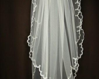 Bridal Veil - Imani Wedding Veil with Embroidery  - Embroidered Veil - Lace Veil - Ivory Veil - White Veil