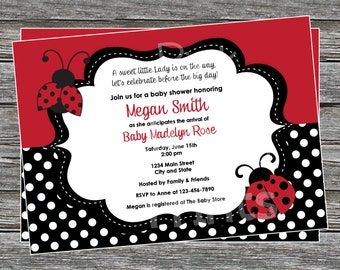 DIY - Baby Girl little Lady Bug Baby Shower or Birthday Invitation - Coordinating Items Available