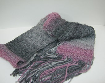 Knit Scarf Pink Gray Black Long Fasion Scarf  Winter Accessories Woman Teen Gift Idea For Her