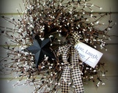 """Black and White  Pip Berry Wreath with Black Star and Tag.... 24"""" .. GORGEOUS -NEW"""