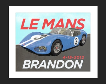 Digital Download Vintage Le Mans Grand Prix Race Car Grand Prix Personalized Poster Art Print Boys Room - 8x10 or 11x14.