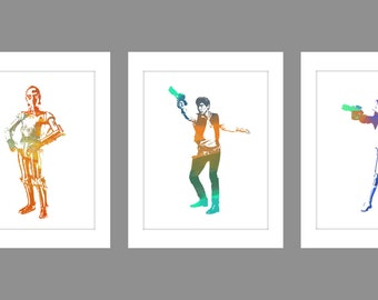 Digital Download Set of 3 C3PO Han Solo Storm Trooper Water Color Art Print Poster Star Wars Han Solo, room decor kids