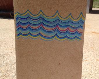Blue Waves Hand Drawn Mini Blank Pocket Journal Notebook