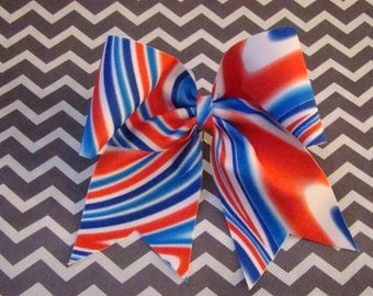 Red, White and Blue Swirled Cheer  Bow