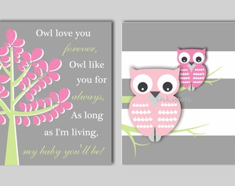 Baby Girl Nursery Art, Owl Wall Art Owl Art, Owl Nursery, Woodland Nursery, Owl Nursery Decor Wall Decor,  CHOOSE COLORS - OW1507
