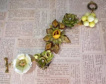 Bracelet Made with Vintage Pieces One Of A Kind OOAK !!