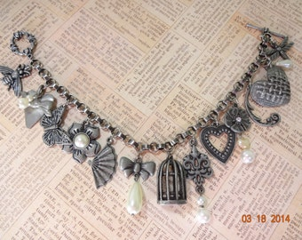 Charm Bracelet Pewter and Pearls One Of A Kind OOAK !!