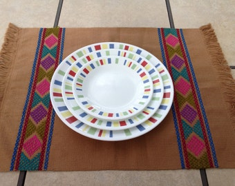 Handwoven and Embroidered Placemat - Brown