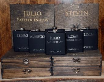 10 Cigar Boxes & 10 Flasks Groomsman Gift Set - Laser Engraved Cigar Box and Flask Gift Set - Wooden Cigar Box