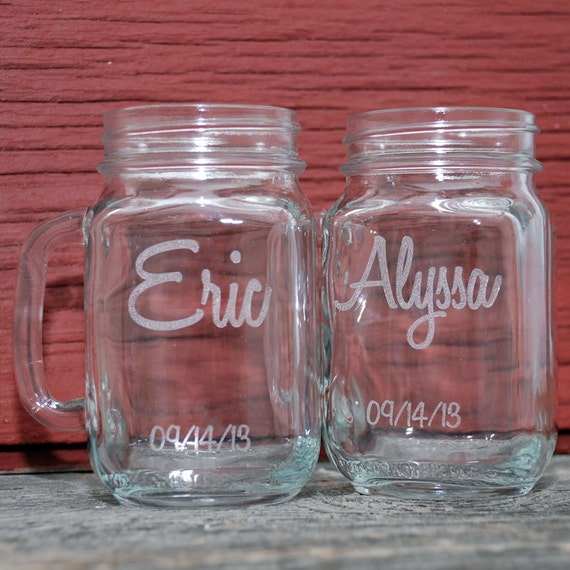 Personalized Wedding Mugs : Mugs Personalized, Wedding Favors, Engraved Mason Jar, Mason Jar Mugs ...