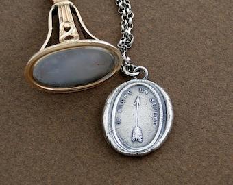 I hurt in secret...... sterling silver, antique wax seal, lost love, broken heart necklace.